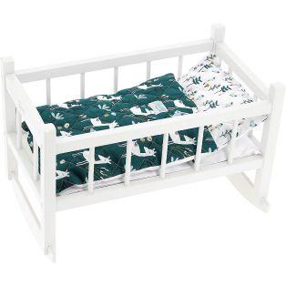 Petitcollin Doll Cot, Crib, Bed, Cradle in White 40cm (16
