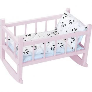 Petitcollin Doll Cot, Crib, Bed, Rocking Cradle in Pink 40cm (16