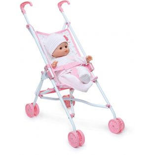 Petitcollin Doll's Pushchair Buggy In Pink 4 Wheels Fits Up To 52cm Dolls alternate image