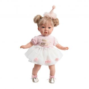 Marina & Pau Toddler Girl Doll In Happy Birthday Outfit 43cm