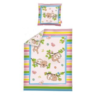 Heless Doll's Blanket With Pillow Fluffy Sloth Design