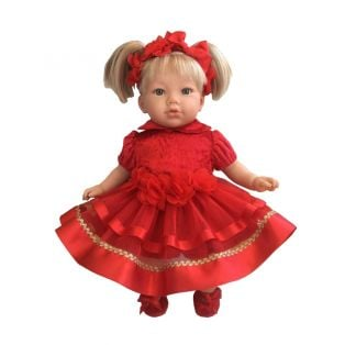 Marina & Pau Toddler Doll Alina In Red Dress 43cm