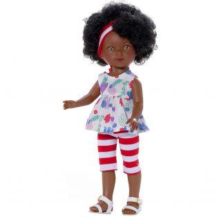 Carlota African Doll in Printed Striped Capris