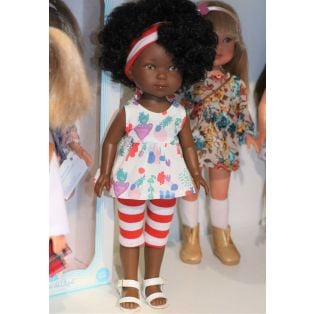 Carlota African Doll in Printed Striped Capris