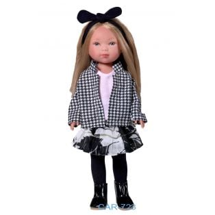 Vestida de Azul Carlota Blonde Doll in Houndstooth Jacket and Skirt with Ruffles 28cm