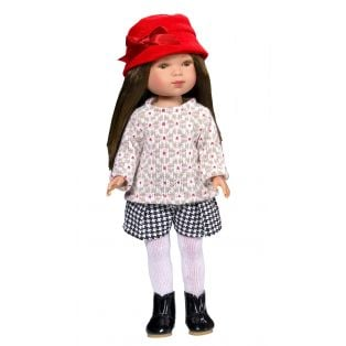Vestida de Azul Carlota Brunette Doll in Houndstooth Shorts & Red Hat 28cm