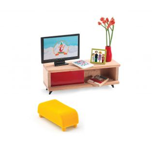 Djeco Petit Home Collection Furniture For Doll's House - The TV Room