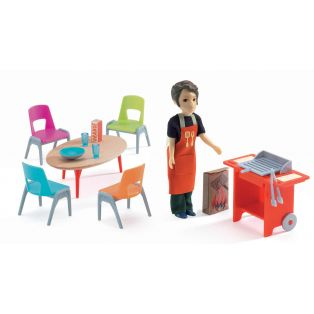 Djeco Petit Home Collection Furniture For Doll's House - Barbecue & Accessories