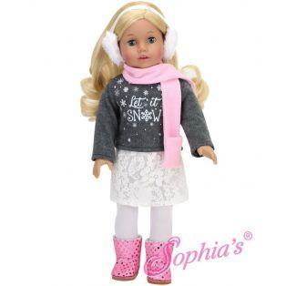 Sophia's Let it Snow Sweater, Skirt, Leggings, Scarf & Earmuffs 45-50cm alternate image