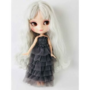 Angela Doll Clothing Dolly's Ruffled Dress 30cm - Dark Grey