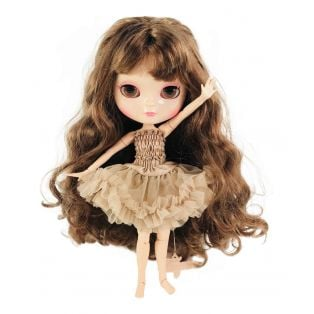 Dolly by Le Petit Tom Multi-Jointed Vinyl Fashion Angela Doll ICY Doll in Brunette in TAUPE 30cm