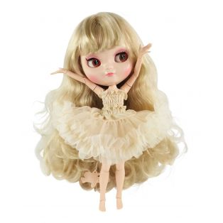 Dolly by Le Petit Tom Multi-Jointed Vinyl Fashion Angela Doll ICY Doll Blonde in CREAM 30cm