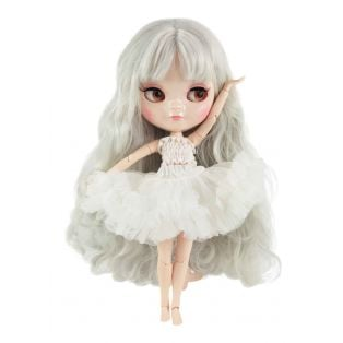 Dolly by Le Petit Tom Multi-Jointed Vinyl Fashion Angela Doll ICY Doll in WHITE 30cm
