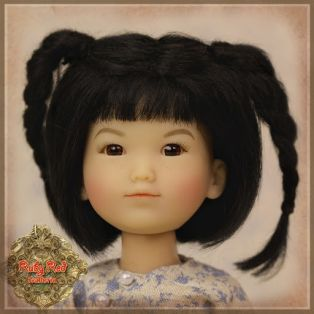 Ruby Red Galleria Ten Ping Black With Braids Mohair Wig 5-6, 5.5 inch
