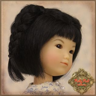 Ruby Red Galleria Ten Ping Black With Braids Mohair Wig 5-6, 5.5 inch alternate image
