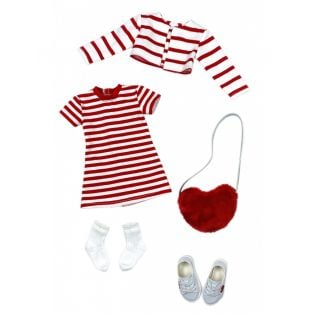 Ruby Red Galleria Fashion Friends Hearts & Stripes Outfit 36cm