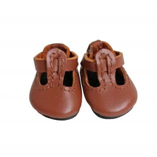 Boneka T-Bar Leather Shoes 35mm x 20mm Brown