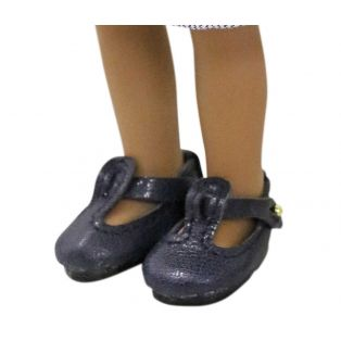 Boneka T-Bar Leather Shoes 35mm x 20mm Navy Blue