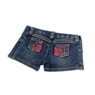 Blue Denim Shorts With Heart Rhinestone Pockets 45-50cm