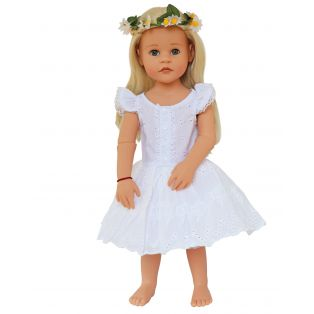 White Broderie Angel Dress, Knickers and Hair Garland Set 45-50cm