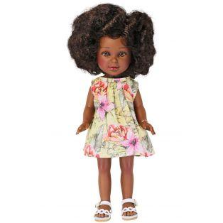 Vestida de Azul Paulina Black African Doll Curly Brown Hair, 33cm