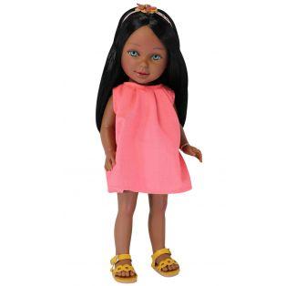 Vestida de Azul Paulina Black African Doll Straight Hair, 33cm