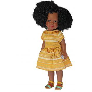 Vestida de Azul Coral Black African Natural Hair Doll in Mustard Dress, 45cm
