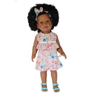 Vestida de Azul Coral Black African Natural Hair Doll in Pink Dress, 45cm