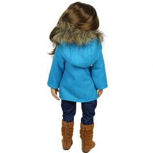 Sophia's Turquoise Pea Coat With Fur Hood	 alternate image