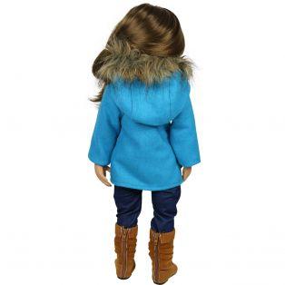 Sophia's Turquoise Pea Coat With Fur Hood alternate image