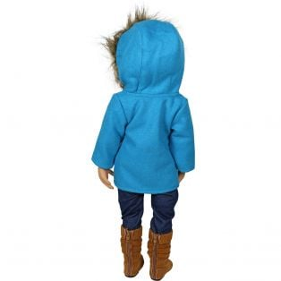 Sophia's Turquoise Pea Coat With Fur Hood
