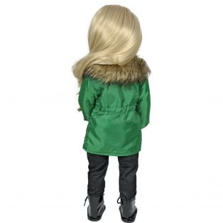 Sophia's Long Green Zip Up Coat Jacket alternate image