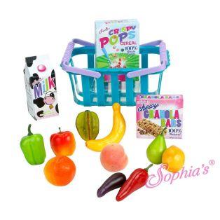 Sophia's Doll Size 14 Piece Grocery Basket & Food Set