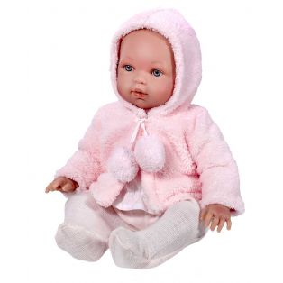 Vestida de Azul Soft Body Baby Marina Doll in Pink Fur Jacket With Pom Poms 45cm