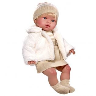 Vestida de Azul Soft Body Baby Marina Doll in Beige Dress and Fur Jacket 45cm