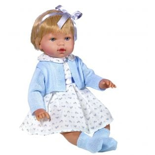 Vestida de Azul Soft Body Baby Marina Doll in Dress and Blue Jacket 45cm