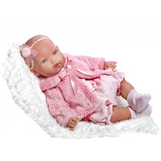 Vestida de Azul Soft Body Baby Marina Doll in Pink Fur Jacket 45cm