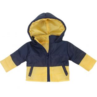 Sophia's Navy & Yellow Hooded Jacket 45-50cm
