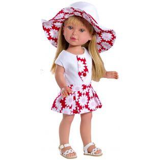 Vestida de Azul Paulina 33cm Blonde Doll In Sun Hat