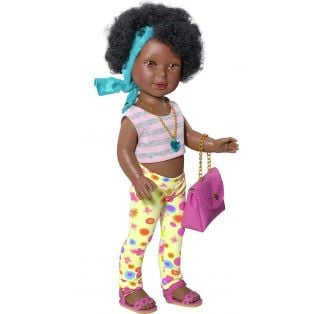 Vestida de Azul Paulina 33cm African Black Doll in Printed Leggings
