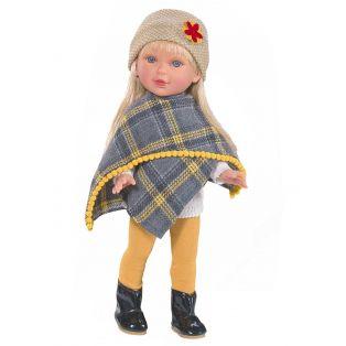 Vestida de Azul Paulina Blonde Doll In Ochre & Grey Poncho, 33cm