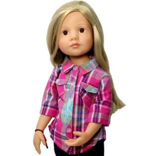 Sophia's Hot Pink & Teal Plaid Blouse 45-50cm alternate image