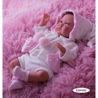 Llorens Reborn Baby Girl Doll With Hair 42cm
