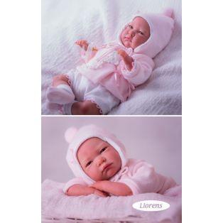 Llorens Reborn Baby Girl Doll in Pink & White Set 42cm