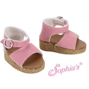 Sophia's Light Pink Suede Wedge Sandals