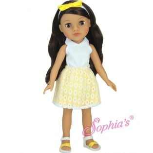Sophia's 14 Inch Yellow & White Eyelet Skirt 4 Piece Set 36cm