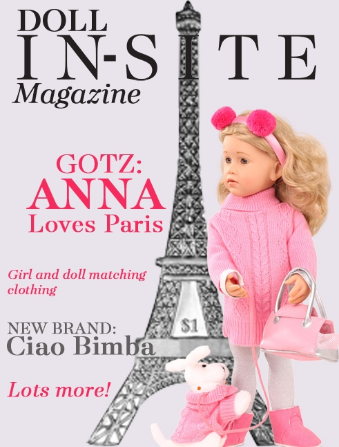 Doll In-Site Magazine featuring Gotz Happy Kidz Anna Loves Paris doll